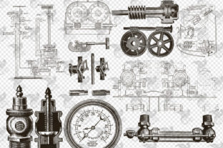 Print on Demand: Mechanical Steampunk Overlays Graphic Illustrations By Digital Curio 3