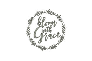 Bloom & Grace Wreath Outline Flowers Embroidery Design By DigitEMB