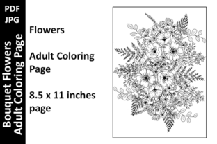 Bouquet - Flowers Coloring Page 6 Graphic Coloring Pages & Books Adults By Oxyp