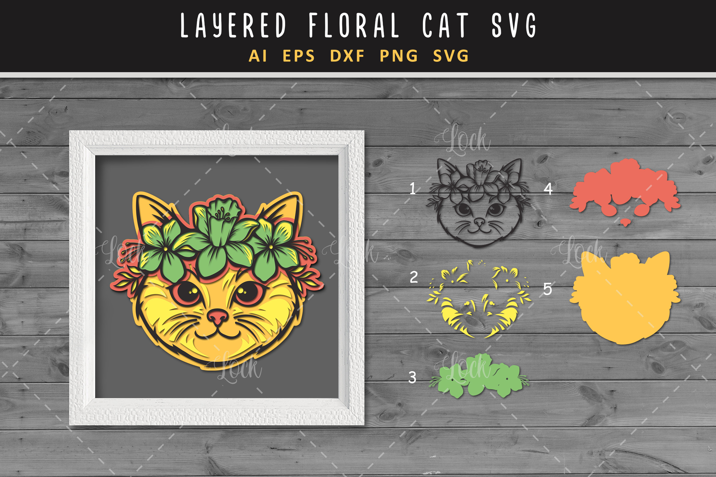 Cute Cat and Flower SVG 3d Layered SVG File