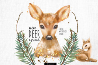 Cute Deers Clipart Graphic Illustrations By HappyWatercolorShop 1