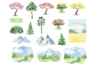 Landscape  Clipart. Forest, Mountains Graphic Add-ons By EvArtPrint 2