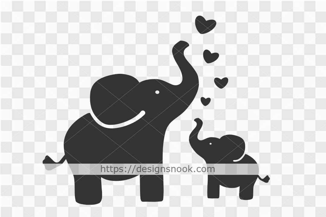 Mom and Baby Elephant SVG SVG File