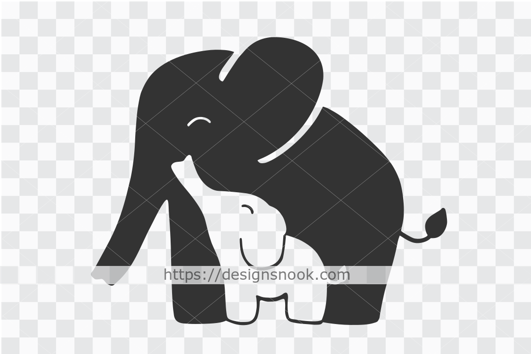 Mother and Baby Elephant Svg, Cute Eleph SVG File