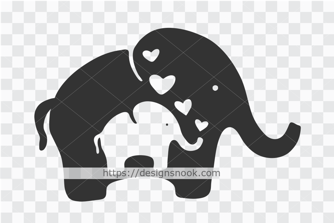 Mother and Baby Elephant Svg, Cute Svg SVG File