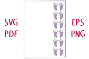 New Baby Footprint Card SVG Cut File Graphic 3D SVG By Nic Squirrell