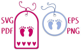 New Baby Footprint Gift Tag SVG Cut File Graphic 3D SVG By Nic Squirrell
