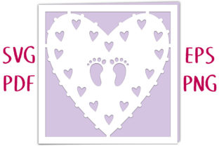 New Baby Footprint Heart Card SVG Cut Graphic 3D SVG By Nic Squirrell