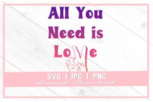Print on Demand: Retro All You Need is Love Rainbow Ombre Graphic Illustrations By thecouturekitten