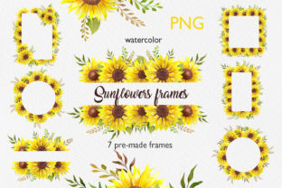 Sunflower Frames Watercolor Artwork Graphic Illustrations By CaraulanStore