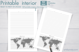 Print on Demand: Traveler's KDP Journal with World Map. Graphic KDP Interiors By artsbynaty