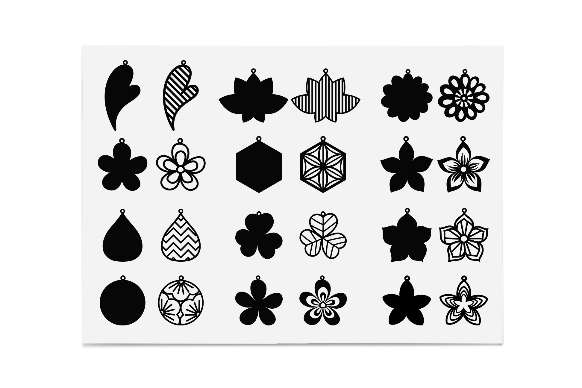 12 Sets of Earring Template, Floral SVG File