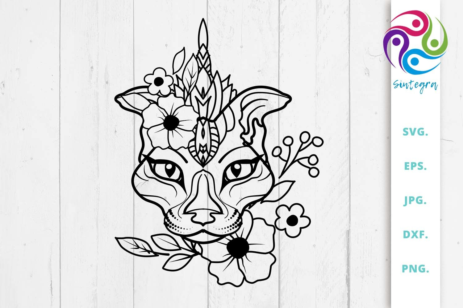 Floral Abstract Cat SVG File SVG File