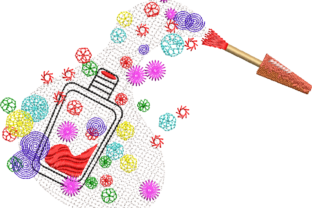 Print on Demand: Flowers and Nail Polish Beauty Embroidery Design By Dizzy Embroidery Designs
