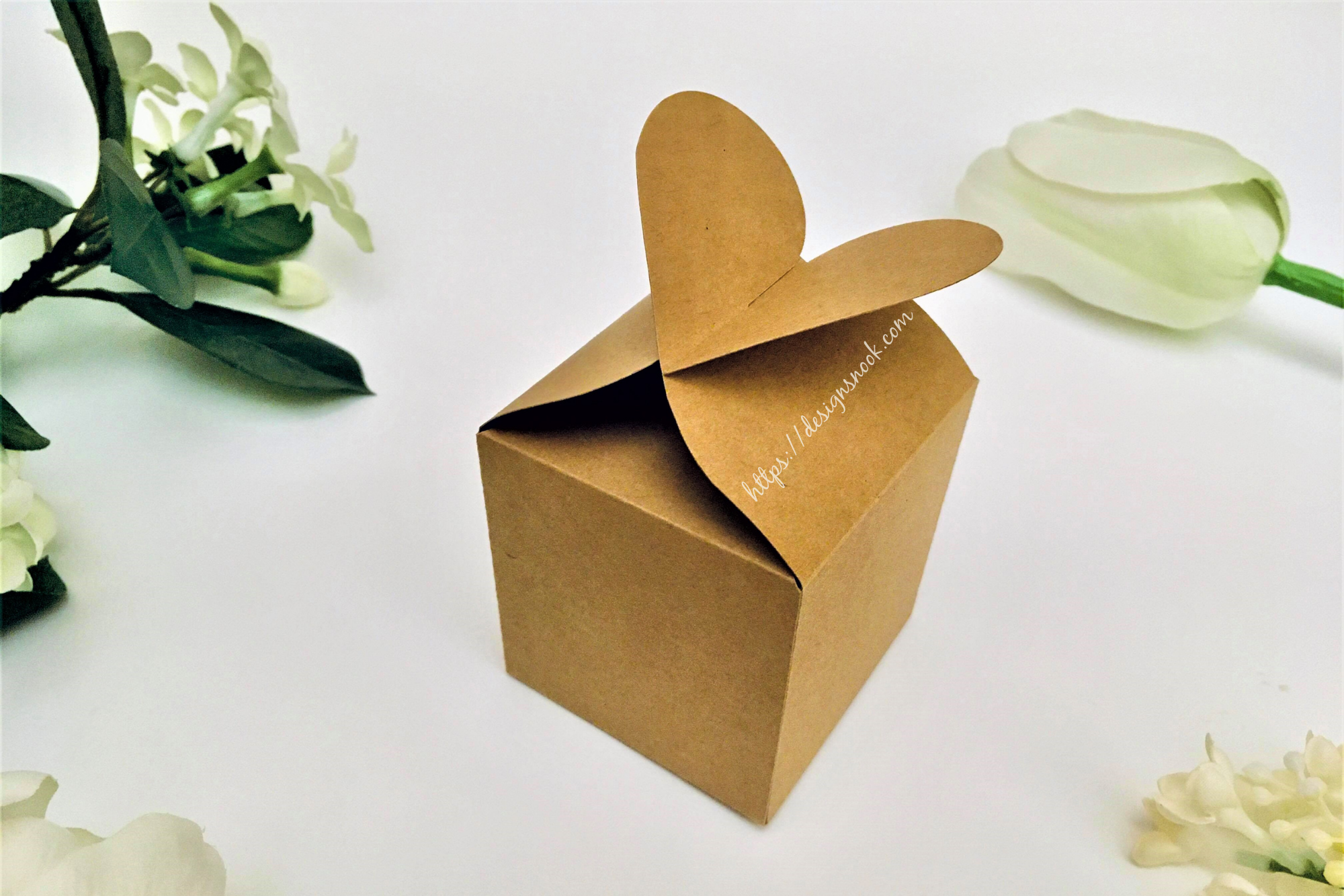 Heart Shaped Cube Box Template SVG File