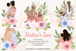 Print on Demand: Mothers Day Clipart Anemone Flower Leaves Graphic Illustrations By PawStudio