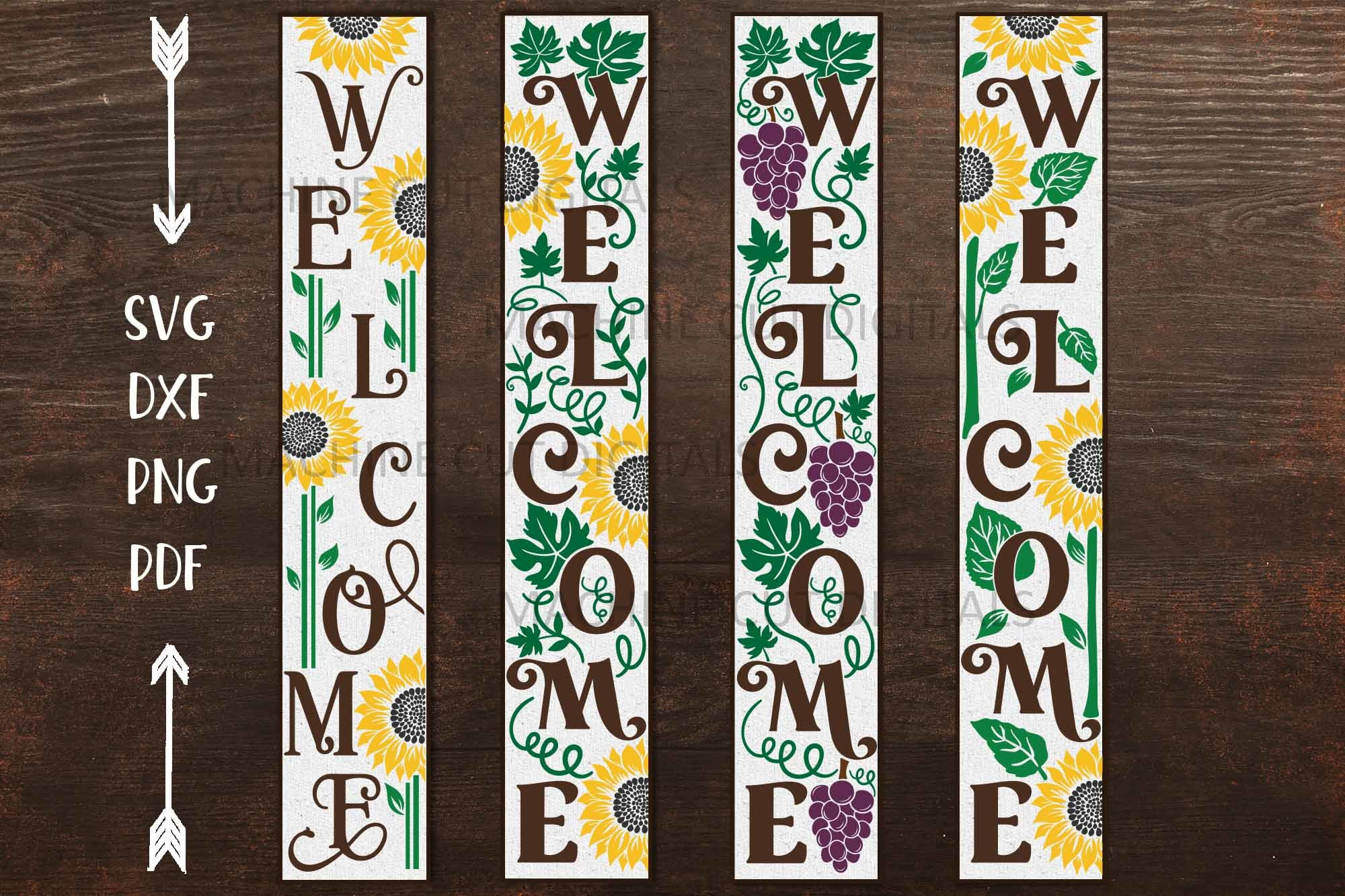 Sunflower Grapes Welcome Long Sign Svg SVG File