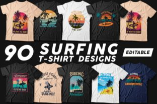 Print on Demand: Surfing T-shirt Designs Bundle Editable Graphic Print Templates By Universtock