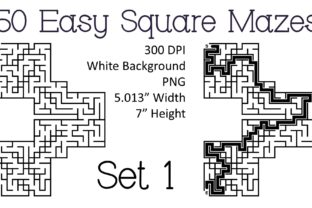 Print on Demand: 50 Easy Square Mazes Set 1 Graphic KDP Interiors By Kathryn Maloney