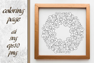Flower Coloring Page Book Wreath Graphic Coloring Pages & Books Adults By DigitalArt