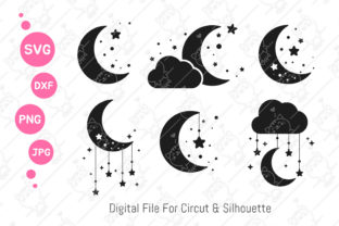 Print on Demand: Moon and Star Svg   Moon Night Sky Clipa Graphic Illustrations By CRStocker