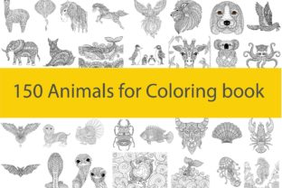 150 Animals for Adult Coloring Book Graphic Coloring Pages & Books Adults By somjaicindy