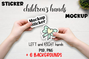 Child Hand Sticker Mockup PSD. Graphic Product Mockups By OK-Design