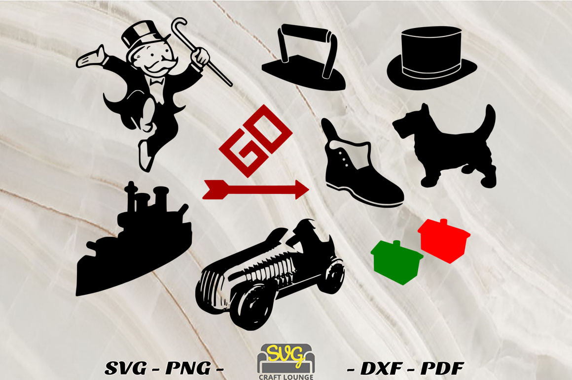 Monopoly Game Pieces SVG File