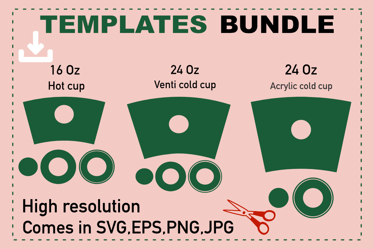 Acrylic Tumbler Template, 24 Oz Cold Cup SVG File