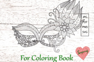 Carnival Mask for Adult Coloring Book Graphic Coloring Pages & Books Adults By somjaicindy