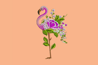 Print on Demand: Flamingo and Flowers Animal Quotes Embroidery Design By Samsul Huda