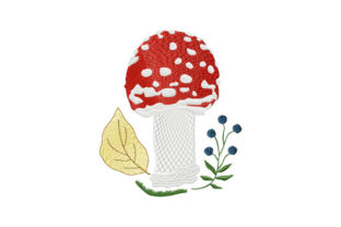 Print on Demand: Forest Mushroom Amanita Forest & Trees Embroidery Design By EmbArt