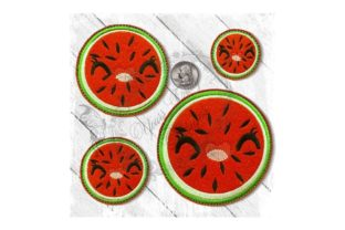Fruity Cutie Watermelon Round Food & Dining Embroidery Design By Yours Truly Designs