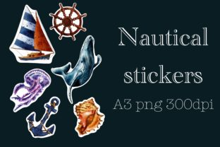 Nautical Stickers, Digital Stickers Graphic Illustrations By Arte de Catrin