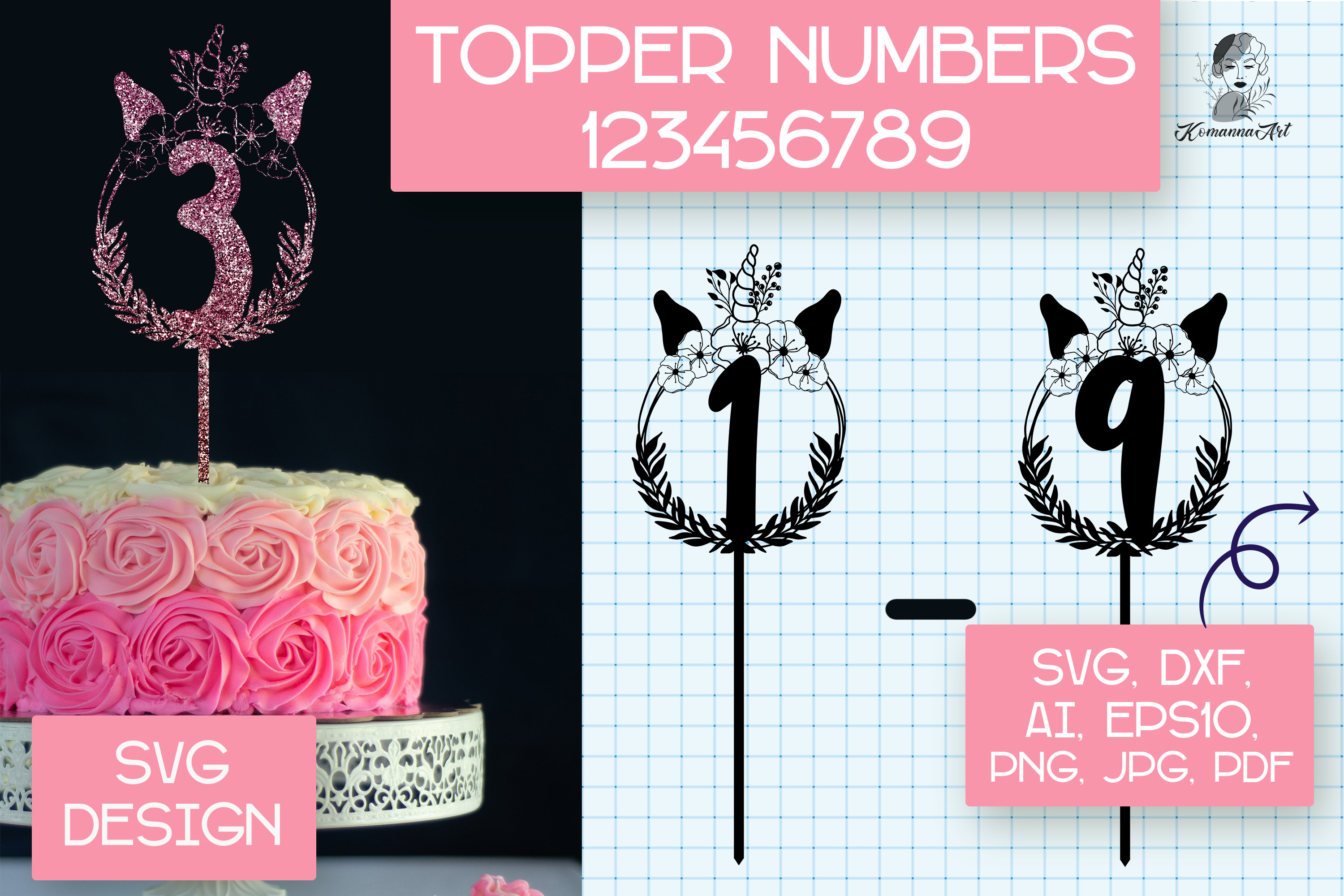 Numbers Unicorn Cake Toppers SVG, SVG File