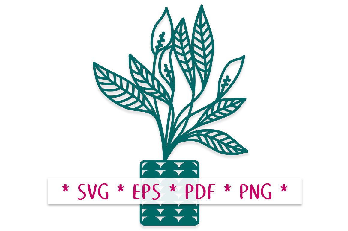 Peace Lily Potted Plant SVG Cut File SVG File