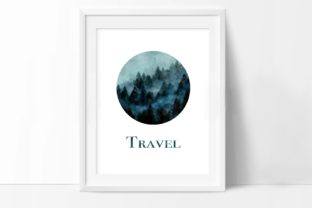 Watercolor Forest Art, Travel, Fir, Pine Graphic Illustrations By Arte de Catrin