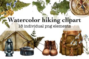 Watercolor Travel Clipart, Camping Graphic Illustrations By Arte de Catrin