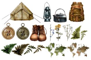Watercolor Travel Clipart, Camping Graphic Illustrations By Arte de Catrin 2