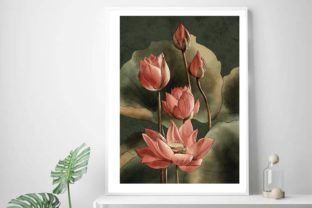 Watercolour Pink Lotus, Water Lily Graphic Illustrations By Arte de Catrin