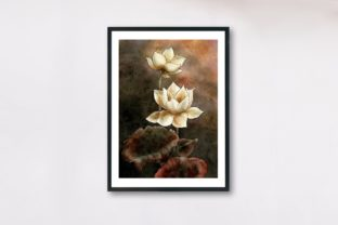 Watercolour White Lotus, Water Lily Graphic Illustrations By Arte de Catrin