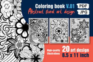 Print on Demand: Abstract Floral Coloring Book Interiors Graphic KDP Interiors By nesdigiart