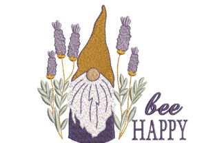Bee Happy Gnome Awareness & Inspiration Embroidery Design By Canada Crafts Studio
