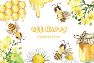 Bee Clipart. Summer, Honey, Flowers Graphic Add-ons By EvArtPrint