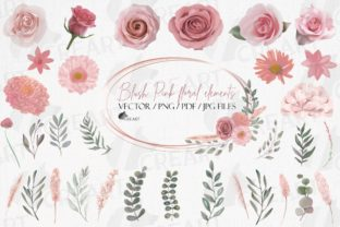 Print on Demand: Blush Pink Flowers & Green Leaves Design Graphic Print Templates By CreartGraphics