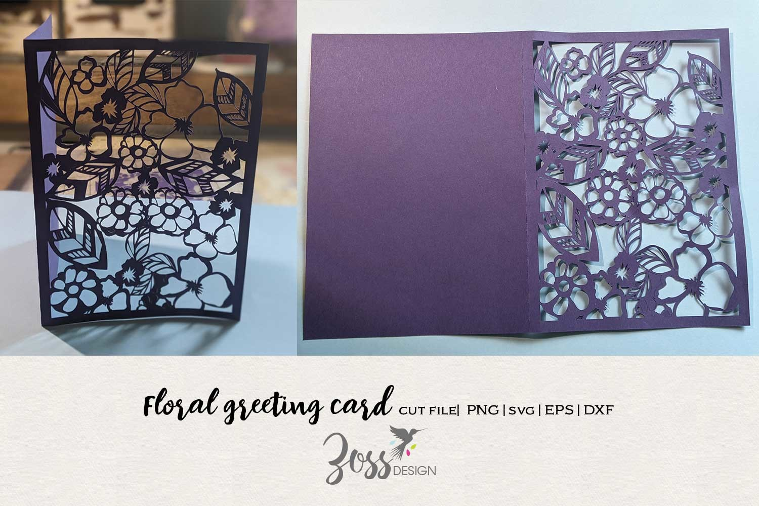 Floral Cut out Greeting Card SVG File