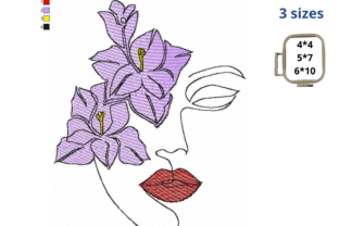 Floral Woman Face Beauty Embroidery Design By LaceArtDesigns