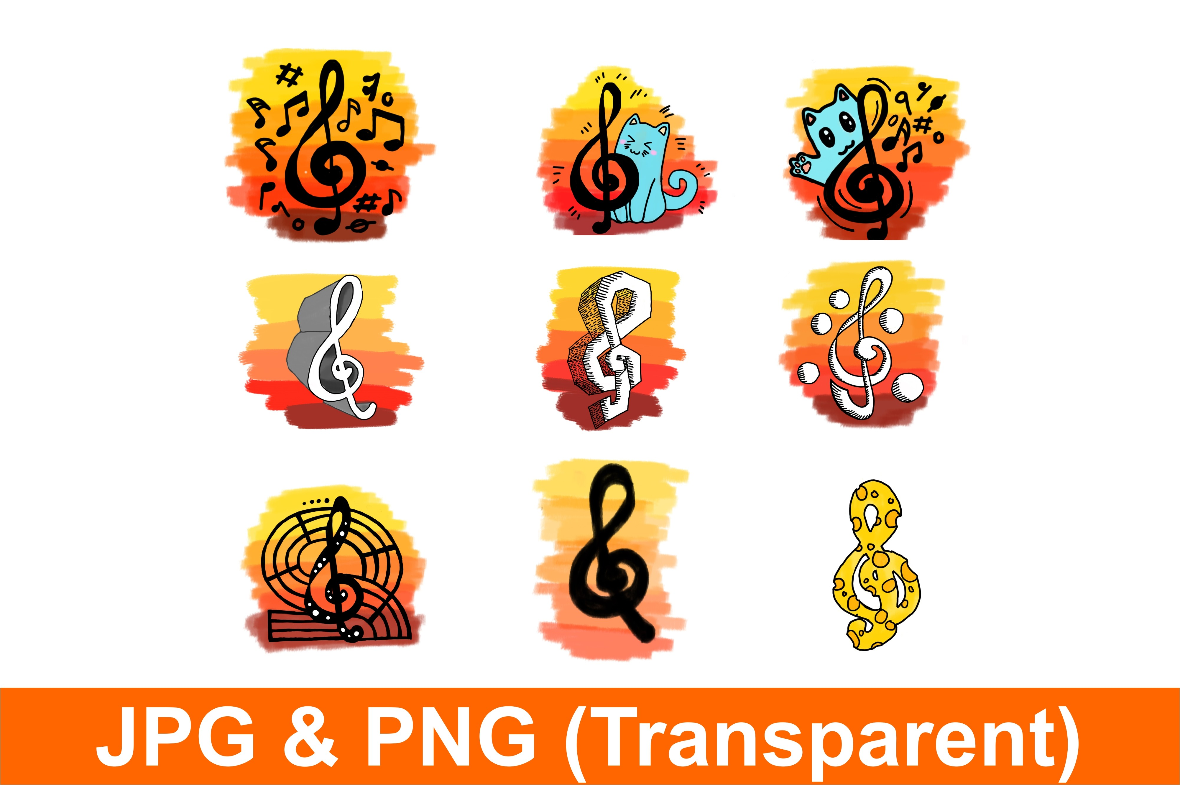 Musical Notes Staff with Sunset Bundle SVG File