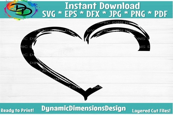 Open Heart Thick Clipart SVG File