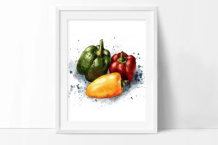 Peppers Print, Yellow, Green and Red Graphic Illustrations By Arte de Catrin